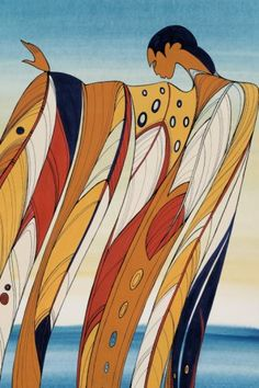 """Contemporary artist Maxine Noel was born on the Birdtail Reservation in south western Manitoba, of Santee Oglala Sioux parents. In fluid images depicting mothers, children, dancers, lovers, and animals of the plains she captures the spirituality and sensitivities of the Native people, signing her artwork with her Sioux name Ioyan Mani, which translates as """"Walk Beyond""""."""
