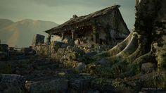 An Old Warrior's Home, gavin whelan on ArtStation at https://www.artstation.com/artwork/an-old-warrior-s-home