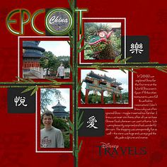 China #Scrapbook Page Layout by Sharon ~ #DisneyScrapbooking