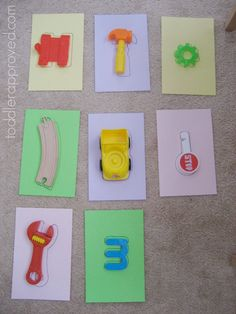 Learning to identify #shapes can be made fun when you use their toys! Found a matching game by @kbus to help you do this. #EarlyDevelopment