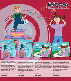 """EaR Books: Developmentally-appropriate children's literature featuring characters with cochlear implants (""""Ellie's Ears"""" and """"Happy Birthday to My Ears"""")  Available in ebook and Spanish versions, too!"""