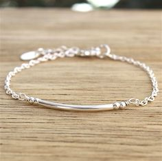 bracelet jonc et perles argent massif sur chaine argent : bracelet chez for you : Bracelet par for-you