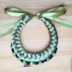 Купить Колье Коса - комбинированный, ожерелье, бусы с камнями, Браслет ручной работы, подарок, новинка