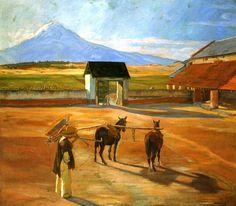 """Esta pintura es por el famoso pintor, Diego Rivera.  El nombre de la pintura es """"La era.""""  Me le gusta mucho porque aparece ser real.  Los colores son muy brillante y el paisaje es hermoso. - (Madison McCoy)"""