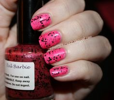 Nail-Venturous - Evil Barbie over China Glaze - Dance Baby