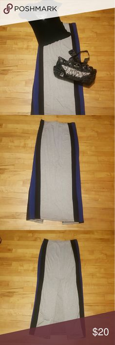 Joe B Maxi Skirt Long gray, blue, and black maxi skirt. Flows off the body with a slit in the back. Some discoloration on the inner bottom part of the skirt pic 4. Joe B Skirts Maxi