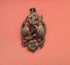 Antique Sterling Silver Turquoise Coral Pendant Brooch Birds