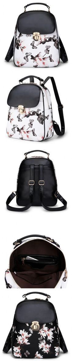 Leisure Casual Daypack Backpacks Double Root PU Japan And South Korea Plant Flowers.
