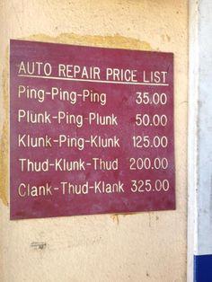 Auto repair price list.... so true