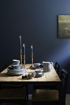 Best Blue Paint Colors To Pick For Your Home 2018 is part of Home Accessories Blue Wall Colors Discover the stunning blue rooms we& inspired and see the fresh and ontrend decorating ideas for each - Dark Walls, Blue Walls, Indigo Walls, Color Walls, Dark Interiors, Colorful Interiors, Best Blue Paint Colors, Color Blue, Azul Indigo
