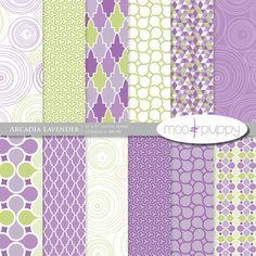 Arcadia Lavender - Digital Scrapbook Paper Pack  -- 12 x 12 and 8.5 x 11  --  INSTANT DOWNLOAD