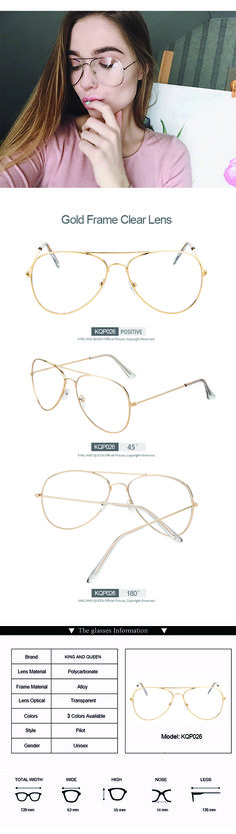 5df1eb3763a GOLD Transparent Lens 2017 Women Clear Classic Glasses style with gold thin  frame large clear aviator