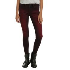 Hot Topic Blackheart Red Wash Super Skinny Jeans ($32) ❤ liked on Polyvore featuring jeans, pants, hot topic, red, skinny jeans, white jeans, zipper jeans, stretchy skinny jeans, white denim skinny jeans and white skinny leg jeans