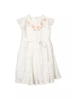Girls Essentials Lace Floral Pleated Dress (Occasionwear) French Vanilla dress