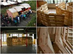 Jaw: Architectural Pallet Structure Built for the Sunflower Maze in Mons 2015