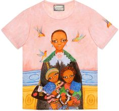 Interesting Gucci T-shirt with art work from Unskilled Worker (Helen Downie). Beautiful design and colors! Gucci Tee, Gucci Shirts, Gucci Gucci, Multi Coloured T Shirts, T-shirt Broderie, Crew Neck Shirt, Oversized Shirt, Printed Tees, Pulls