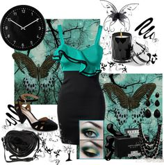 """black and teal dress"" by ccrisp on Polyvore"