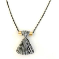 Gray tassel necklace long tassel necklace silver gold boho