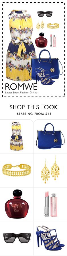 """""""♡WIN A ROMWE FLORAL PLEATED DRESS!♡"""" by emina-095 ❤ liked on Polyvore featuring мода, Michael Kors, POL, Christian Dior, Vero Moda и Prada"""