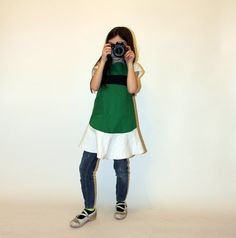 green powerpuff apron for girls by jordandene on Etsy, $40.00
