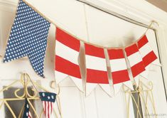 Fourth of July decoration, cute fabric banner! Diy 4th Of July Bunting, 4th Of July Decorations, 4th Of July Party, Fourth Of July, Happy Birthday America, 4th Of July Fireworks, July Crafts, Flag Decor, Craft Party