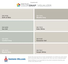 I found these colors with ColorSnap® Visualizer for iPhone by Sherwin-Williams: Agreeable Gray (SW Extra White (SW Smoky Azurite (SW Portrait Tone (SW Steamed Milk (SW Blithe Blue (SW Cocoa Whip (SW Restrained Gold (SW Interior Paint Colors, Paint Colors For Home, Exterior House Colors, Exterior Paint, Sw 7036, Eider White, Sherwin Williams Gray, Balanced Beige Sherwin Williams, Mindful Gray