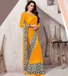 Indian Wedding Outfits, Indian Outfits, Printed Sarees, Indian Sarees, Yellow Dress, Diwali, Print Design, Sari, Fancy