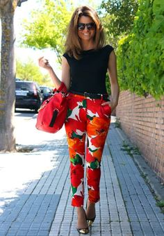 Zara Red colorblock Floral Printed Skinny Pants  #Zara #Red #Orange #Colorblock #Floral #Printed #Skinny #Pants #Fashion's Blogger #Oh My Looks
