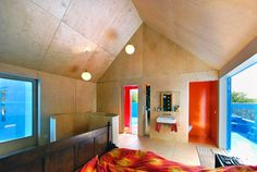 Dutch bedroom with wood on unexpected surfaces.  Didden Village, MVRDV