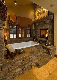 Relax in your stone bath tub in front of a hot fire!