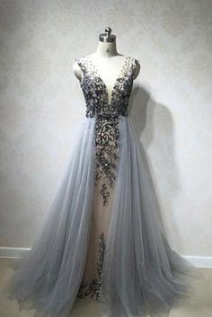 Elegant Gray tulle V neck A-line beaded and sequins long evening dresses