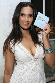 """Padma Lakshmi shows off her adorable custom """"Celebrate Padma"""" napkins that she created for her New York City birthday party. Event Ideas, Party Ideas, Padma Lakshmi, Strong Girls, Napkins, Nyc, York, City, Celebrities"""