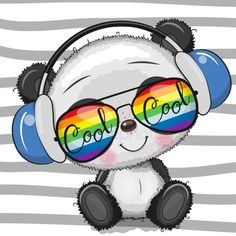 Cool Cartoon Cute Panda with sun glasses Gráficos Vectoriales Panda Kawaii, Cute Panda Cartoon, Baby Cartoon, Panda Wallpapers, Cute Cartoon Wallpapers, Cute Images, Cute Pictures, Cute Cartoon Images, Animal Drawings