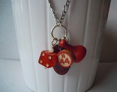 Vintage Board Game Necklace Red Found Objects & by QuirkCrafts