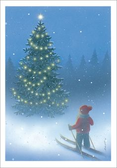 Jaana Aalto, Finland, basking in the beauty that is the twinkling lights on a christmas tree. Christmas Tale, Christmas Time Is Here, Vintage Christmas Cards, Merry Christmas, Xmas, Christmas Illustration, Illustration Art, Illustrations, Christmas Artwork