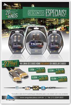 Descontos Especiais de até 27% na linha de cabos HDMI da CB Cables exclusiva da Angular Cabos.