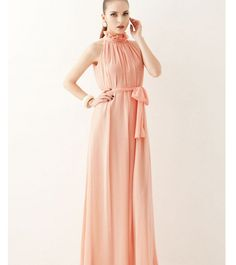 Noble Stand Collar Sleeveless Chiffon Maxi Dress Pink  Item number:SW13042009-2 Wholesale price:US$ 14.07