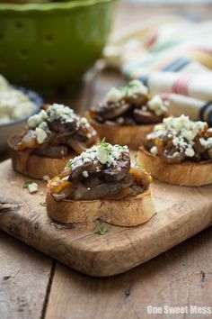 Caramelized Onion & Mushroom Crostini — Sweet Vidalia onions & meaty portobello mushrooms get sauteed until perfectly caramelized & rich in bold flavor! A hint of balsamic vinegar adds a sweet, acidic touch to the mixture & then piled high on grilled French baguette & topped with tangy blue cheese crumbles!
