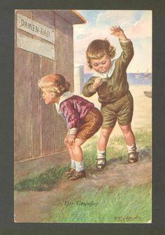 Friend Catches Bad Boy Peeking in Girls Bath House at Beach Fialkowska Postcard | eBay