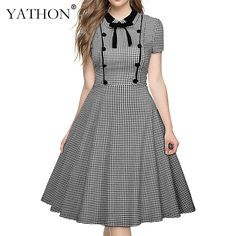 YATHON Womens Elegant Bow Casual Cocktail Party Dresses New Vintage Black Plaid Peter Pan Collar Puff Sleeve Skater A-line Dress #Affiliate