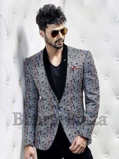 Shawl Lapel Blazer and abstract print to make a mark in the world of style.  Item Code: TSJY1320L http://www.bharatplaza.com/new-arrivals/mens-blazer.html