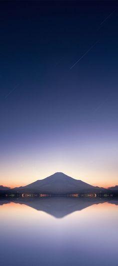 iOS 11, iPhone X, lake, sky, mountain, purple, sunset, orange, coast, photography, nature, apple, wallpaper, iphone 8, clean, beauty, colour, iOS, minimal