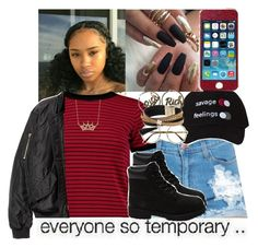 """""""Boys Are Full of BS"""" by darkskinn-awa ❤ liked on Polyvore featuring Boohoo, Lord & Taylor, Timberland, Joyrich, Retrò and Simons"""