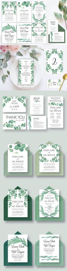 Eucalyptus Wedding Suite Vol.2 . Wedding Card Templates
