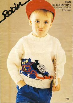 THOMAS The TANK ENGINE Knitting Pattern for Childrens Sweater ~ by PatternaliaVintage