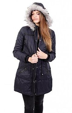 A Wear - Monet Navy Blue Womens Winter Hooded Quilted Parka £49.99 www.anastasiafashions.co.uk
