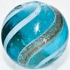 ".75"" Antique Marble Blue Glass Goldstone Lutz White Bands RARE c.1890"
