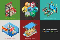 #Vector #isometric #flat style #INDOOR collection: #interiors, #people #professions, #workplaces, #furniture, etc #banking, #infographics, online #education, #payment, #shopping #ai #eps #jpg Download library: https://creativemarket.com/Sentavio/512322-Isometric-flat-world-collection-v.2