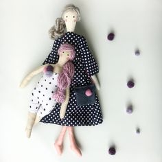 "Rag doll Big Sister Little Sister - Tilda Dolls Mother Daughter - Fabric Doll - Cloth Doll -  Soft Doll - 47cm/ 18"" tall - Silk With Cotton by SilkWithCotton on Etsy"