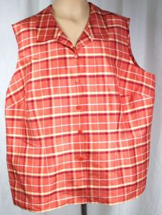 Style-Co-Womens-Sleevelss-Button-Front-Coral-Plaid-Silk-Blouse-Plus-Size-24W